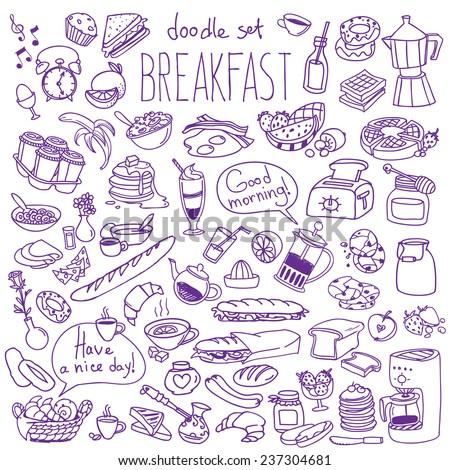 Set of various doodles, hand drawn rough simple breakfast meals sketches. Vector illustration isolated on white background - stock vector