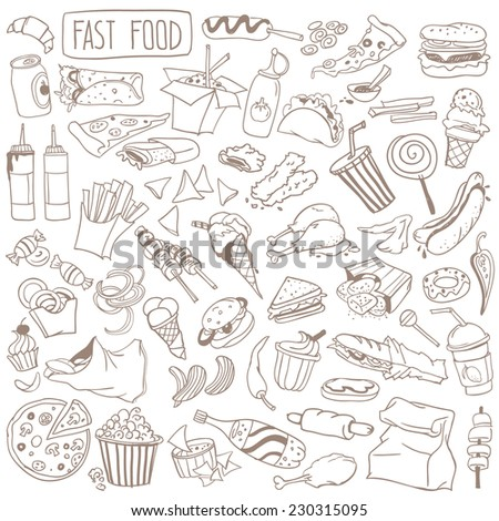 Set of various doodles, hand drawn rough simple fast food sketches.  - stock vector