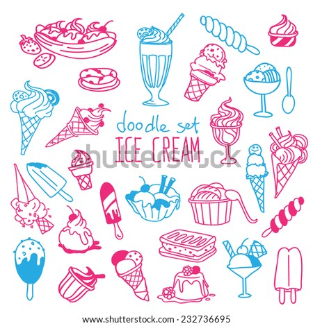 Set of various doodles, hand drawn rough simple ice cream sketches. Vector illustration isolated on white background - stock vector