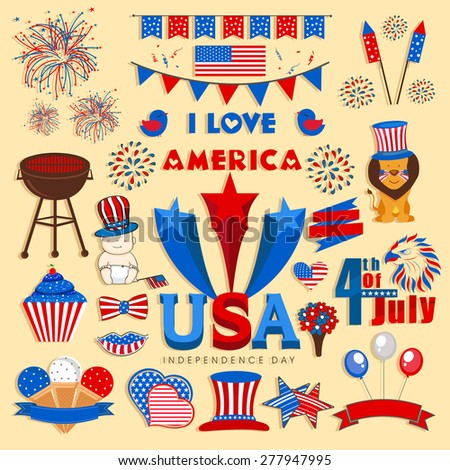Set of various elements in national flag colors for 4th of July, American Independence Day celebration. - stock vector