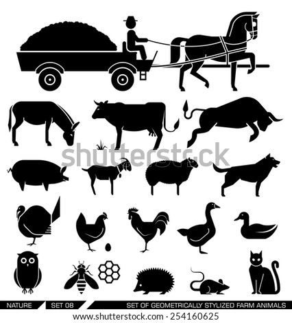 Set of various farm animal icons: horse, cow, goat, sheep, dog, cat, chicken, turkey. Vector illustration. Set of geometrically stylized farm animals. - stock vector