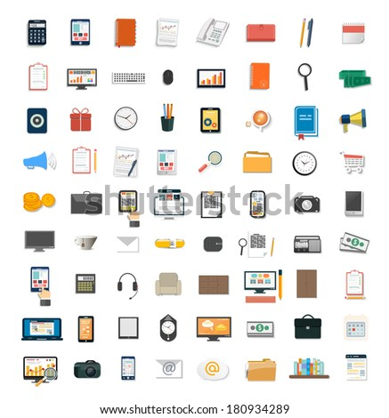 Set of various financial service items, business management symbol, marketing items and office equipment - stock vector