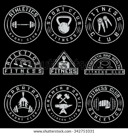 Set of various fitness grunge labels and design elements - stock vector