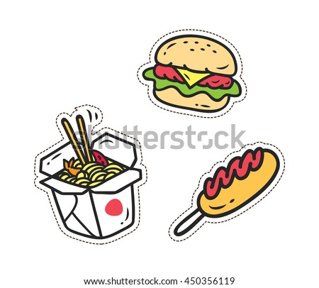 Set of various food patch isolated on white background - stock vector