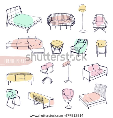 set various furniture hand drawn different stock vector 679812814