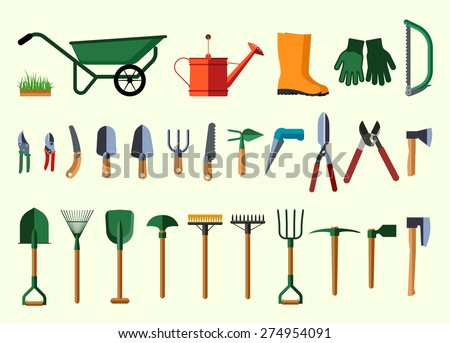 Set of various gardening items. Garden tools. Flat design illustration of items for gardening. Vector illustration.  - stock vector