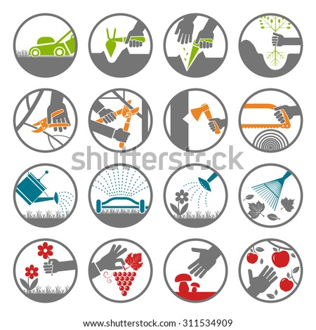 Set of various gardening items. Gardening tools. Pictogram icon set of items for gardening.  - stock vector