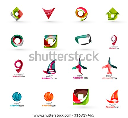 Set of various geometric icons -  rectangles triangles squares or circles. Made of swirls and flowing wavy elements. Business, app, web design logo templates. - stock vector