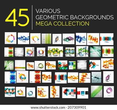 Set of various geometricabstract backgrounds - 45 abstract design templates ready to use - huge  mega collection - stock vector