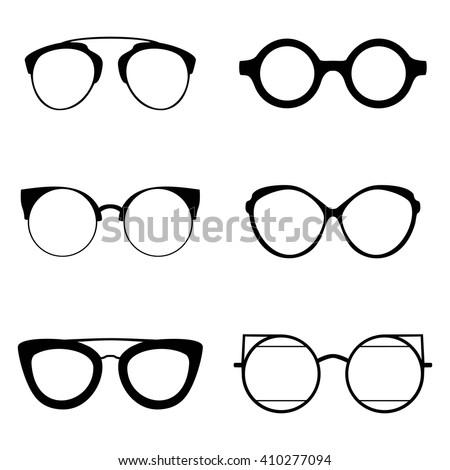 Set Various Glasses Stylish Sunglasses Women Stock Vector Royalty
