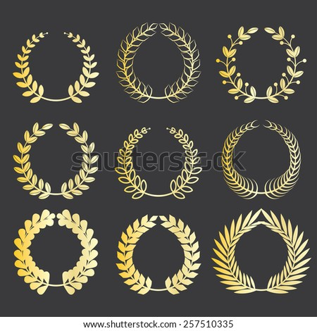 set of various gold award laurel wreaths to decorate your design works - stock vector