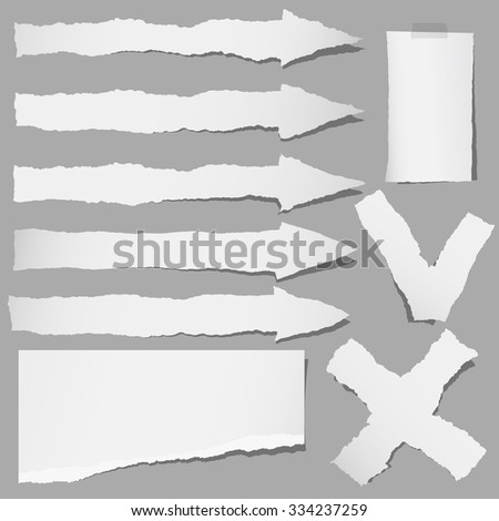 Set of various gray torn papers arrows, cross, accept, yes or no symbols