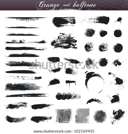 Set of various grunge and halftone design elements - stock vector