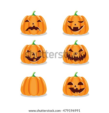 Set of various Halloween pumpkins. Isolated on white background. Scary Halloween cartoon pumpkins. Vector illustration.