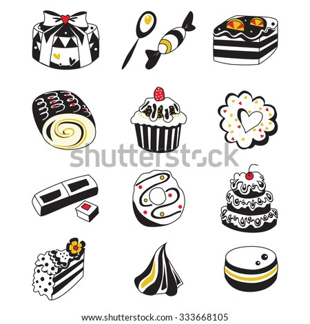 Set of various hand drawn sweets and candies sketches. Isolated vector illustration on white background - stock vector