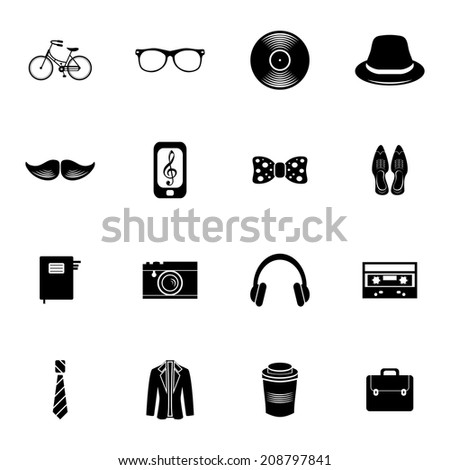Set of various hipster icons - stock vector