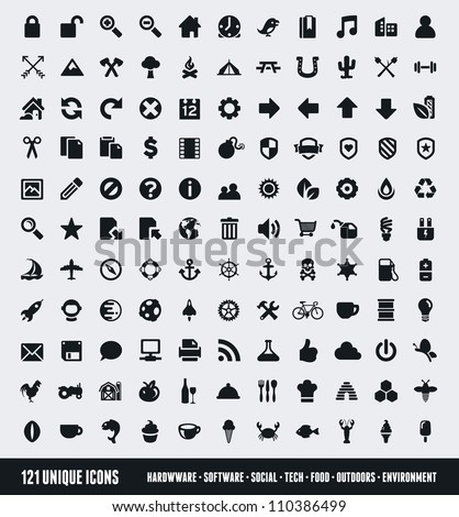 Set of 121 various icons and design elements - stock vector