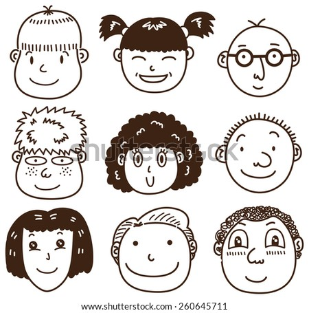 set of various kid face  - stock vector