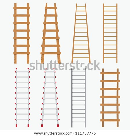 Set of various ladders on the white background. - stock vector