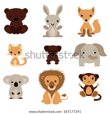 Set of various lovely animals, wild and pet - stock vector