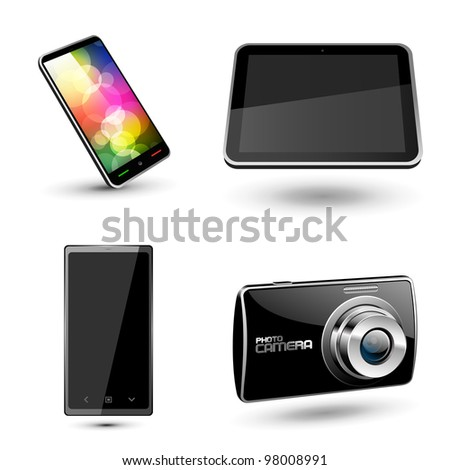 Set of various mobile devices icons. Vector - stock vector
