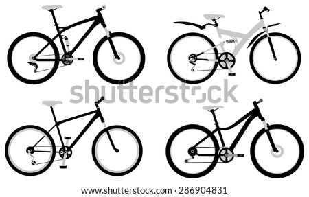 Set of various monochromic sport, city and electric bicycles - stock vector