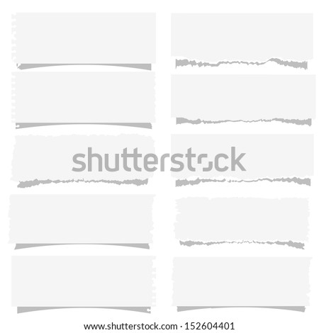 Set of various note papers. Vector EPS10 - stock vector