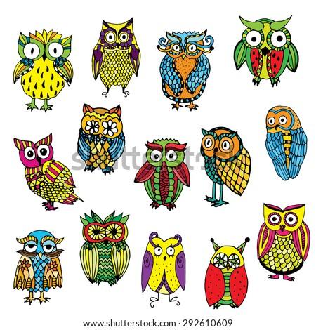 Set of various owls on simple white background - stock vector