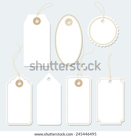 Set of various paper tags, labels, isolated vector elements, flat design  - stock vector