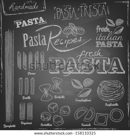 set of various pasta elements and chalk typography on a blackboard - stock vector