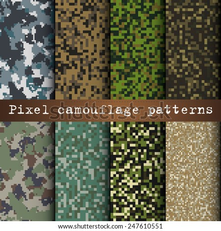 Set of 8 various pixel camouflage patterns vector - stock vector