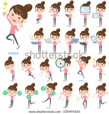 Set of various poses of Bun hair mom Pants style - stock vector