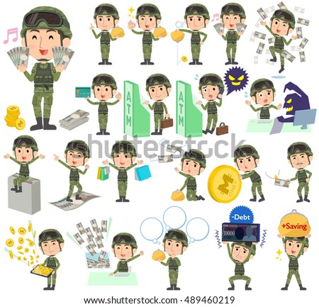 Set of various poses of military wear man money