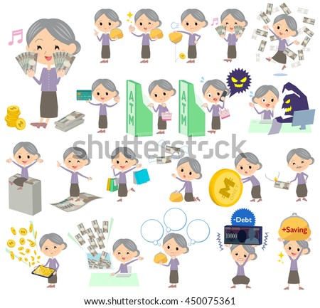 Set of various poses of Purple clothes grandmother money