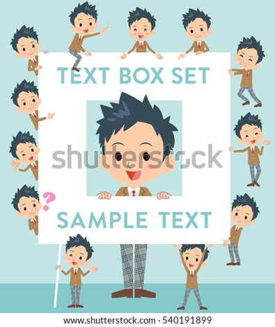 school text box clipart. set of various poses school boy brown blazer text box clipart h