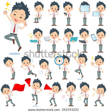 Set of various poses of schoolboy White shortsleeved shirt 2 - stock vector
