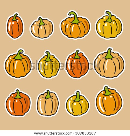 Set of various pumpkin icons  - stock vector