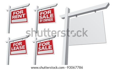 Set of Various Right Facing Vector Real Estate Signs - Blank, For Sale By Owner, For Sale, For Rent and For Lease. - stock vector