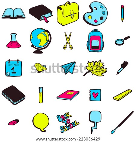 Set of various school elements, colorful hand drawn icons collection - stock vector