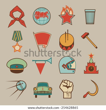 Set of various soviet style design colorful vector elements, symbols, icons and emblems isolated on beige background. Russian socialistic culture retro collection - stock vector