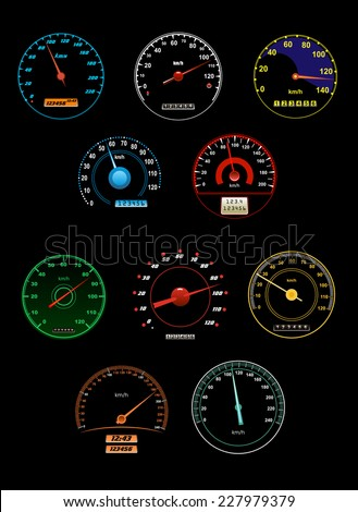 Set of various speedometers with dials and gauges with needle pointers and numbered scales, vector illustration - stock vector