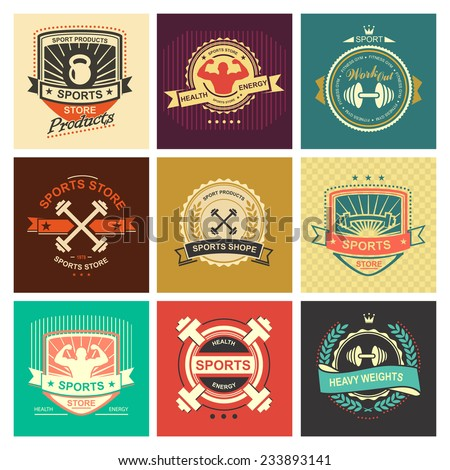 Set of various sports and fitness logo emblem graphics and icons. Shop sport products - stock vector