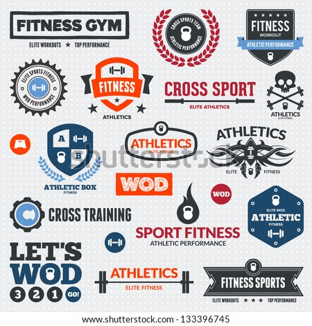 Set of various sports and fitness logo graphics and icons - stock vector