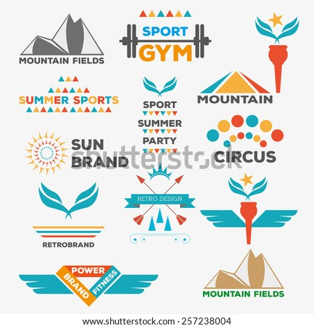 Set Of Various Sports And Fitness Logo Graphics Icons Retro Vintage Labels Design Vector