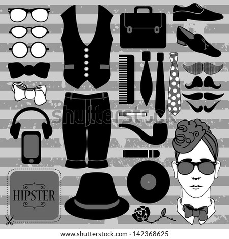 Set of various stylish hipster accessories