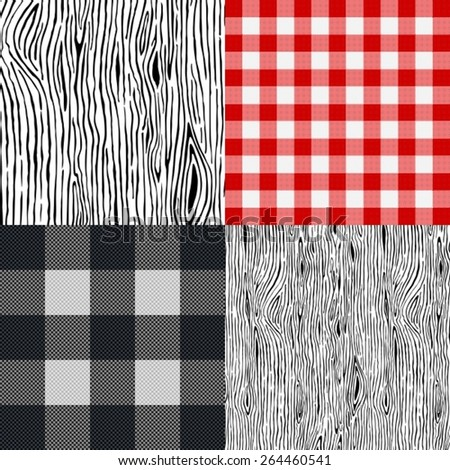 Set of various tablecloth and wooden backgrounds. - stock vector