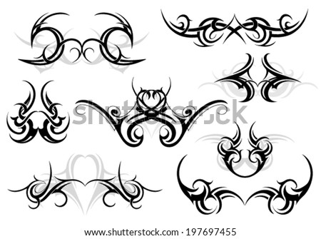 Set of various tattoo shapes with tribal art elements - stock vector