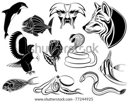 Set of various tattoos with animals, birds, fishes and a flower
