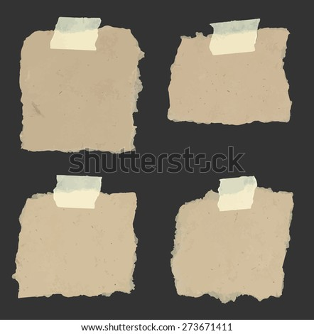 Set of various torn note papers with adhesive, sticky tape on black background. - stock vector