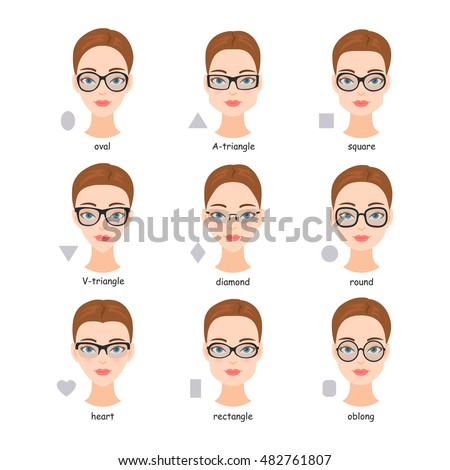 Set Various Types Spectacle Eyeglasses Faces Stock Photo (Photo ...